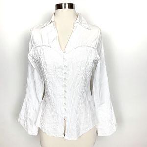 Made in Peru White Cotton Corset  Blouse